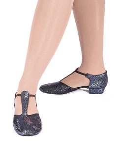 HGS Black Hologram Sparkle Greek Sandal with Suede Sole