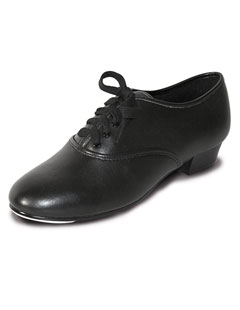 PBT Black PU Boys/Mens Oxford Lace Up Tap Shoes with Fitted Toe Taps
