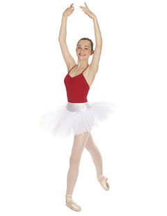 PTPar Ballet Dance Pull On Tutu Skirt, Pastel Pink, White or Black