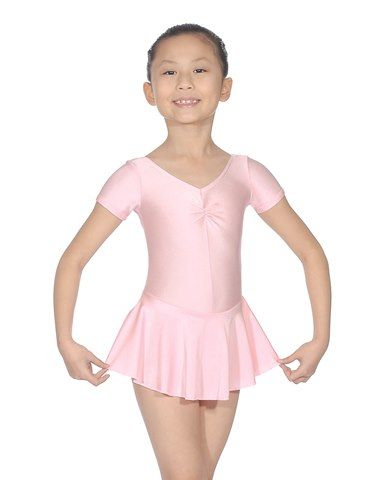 Roch Valley ISTDSS Short Sleeved Ballet Dance Leotard with Gathered Bustline and Skirt