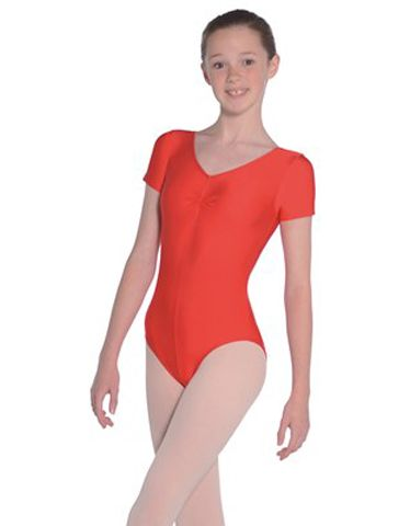 Roch Valley JEANETTE  Short Sleeved Nylon/Lycra Shiny Ballet/Dance Leotard  with Ruche Front
