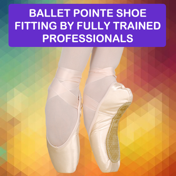 Starlight Ballet pointe shoe fitting by trained professionals.